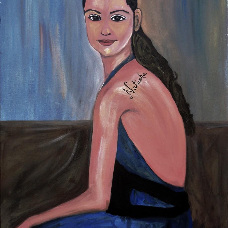 Girl with a Tatoo - Acrylic on Canvas, 36 x 24