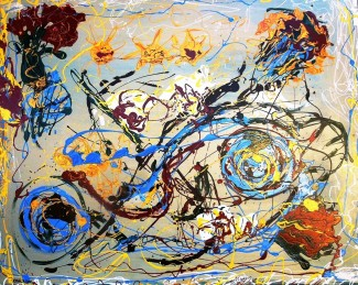(SOLD) - Creative Beginnings - $4,200, Acrylic and Enamel on Canvas , 48 x 60