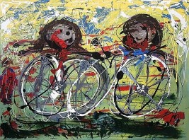 Cyclists - $3,200, Acrylic and Enamel on Canvas , 36 x 48