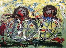 Cyclists - $3,200, Acrylic and Enamel on Canvas , 36 x 48