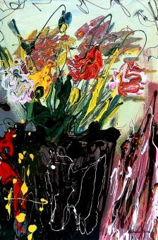 (SOLD) Flowers Blossom - $1,500 - Acrylic and Enamel on Canvas, 36 x 24