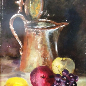 Fruits and a Pitcher - Oils on Canvas, 18 x 16