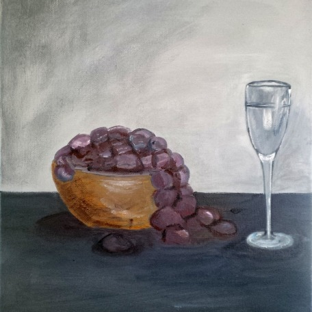 Grapes with Champagne - Acrylic on Canvas, 20 x 18